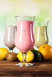 Healthy diet, protein shakes and fruits Stock Photo