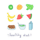 Healthy diet. Set of fruit. Hend drawn illustration Royalty Free Stock Photo