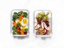 Free Healthy Diet Snack, Breakfast Lunch Box On Light Background, Top View. Boiled Egg, Fresh Vegetables And Fruits - Tasty Healthy Royalty Free Stock Image - 158948106