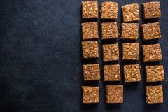 Healthy diet snack, oat flap jack brownie bar stock images