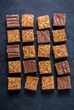 Healthy diet snack, oat flap jack brownie bar Royalty Free Stock Images