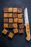 Healthy diet snack, oat flap jack brownie bar Stock Photography