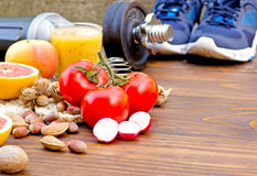 Healthy diet and sports activity to a healthy life Stock Photos