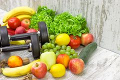 Healthy diet and sports activity to a healthy life. Concept of health Stock Images