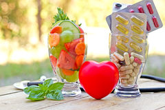 Healthy diet and supplements Royalty Free Stock Photo