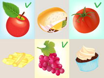 A Healthy diet:Tomato, Apple and  A Bunch of Grapes Stock Photography