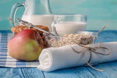 Healthy dieta concept. Organic products with fructs and milk royalty free stock photography