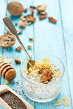 Healthy dietary breakfast - chia pudding with muesli, cereal fla Stock Photography