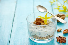 Healthy dietary breakfast - chia pudding with muesli, cereal fla Stock Images