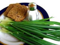 Bread, green onion and salt Stock Photos
