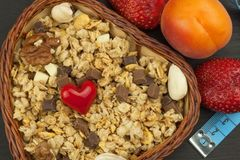 Healthy dietary supplements for athletes. Cheerios for breakfast. Muesli and fruit. The diet for weight loss. Muesli to eat. Royalty Free Stock Photo