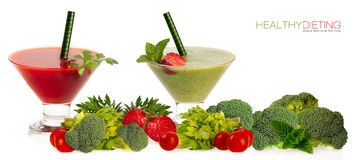 Healthy Dieting Concept. Smoothies with Fresh Fruit and Vegatabl. Healthy dieting concept. Two healthy organic fruit and vegetable smoothies served in conical Stock Photo