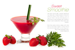 Healthy Dieting. Sweet Smoothie with Fresh Fruit and Herbs Royalty Free Stock Image