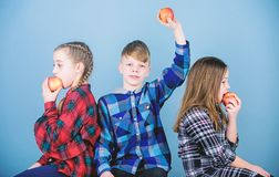 Healthy dieting and vitamin nutrition. Boy and girls friends eat apple snack while relaxing. School snack concept. Group. Cheerful teenagers having fun and stock photo