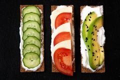 Healthy different rye sandwiches from whole grain rye crispbread. The concept of healthy eating royalty free stock photos