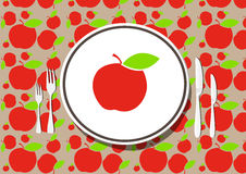 Healthy dining. Set - an apple in the plate illustration Royalty Free Stock Photos