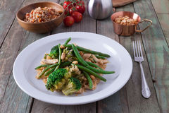 Healthy dinner with broccoli and green beans Royalty Free Stock Image
