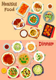 Healthy dinner dishes icon set for food design Stock Photos