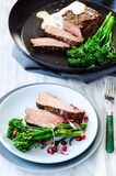 Healthy dinner grilled steak with vegetables Stock Image