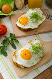 Healthy dinner panini toast, egg and vegetable Royalty Free Stock Photo