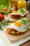 Healthy dinner panini toast, egg and vegetable Stock Photography