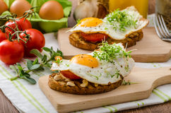 Healthy dinner panini toast, egg and vegetable Royalty Free Stock Photos