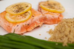 Healthy dinner with salmon seen up close Stock Photos