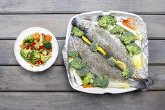 Healthy dinner: trouts and vegetables Stock Photo