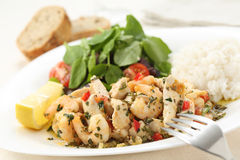 Healthy dish of fried chicken and shrimps with watercress and wh Royalty Free Stock Image