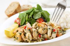 Healthy dish of fried chicken and shrimps with watercress Royalty Free Stock Photography