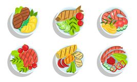 Free Healthy Dishes Set, Top View Of Grilled Meat, Fish And Vegetables On Plates Vector Illustration Royalty Free Stock Images - 160512679