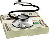 Healthy dollars stethoscope. Listening heartbeat symbol wad of dollars Royalty Free Stock Photo