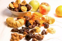 Healthy dried exotic fruit - healthy organic vegetarian food diet. On table close-up Stock Photo
