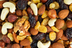 Healthy dried fruits. And nuts closeup Royalty Free Stock Photos