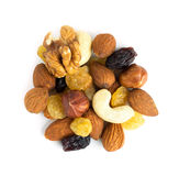Healthy dried fruits and nuts. On white background Stock Image