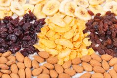 Healthy dried ingredients containing minerals, carbohydrates and dietary fiber, nutritious eating concept Stock Images