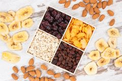 Healthy dried ingredients containing minerals, carbohydrates and dietary fiber, nutritious eating concept. Healthy dried ingredients containing carbohydrates stock photography