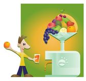 Healthy Drink. Illustration of a huge juicer fed with fruit and a young man holding a glass of fresh fruit juice Royalty Free Stock Photos