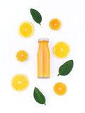 Healthy drink, bottle of orange juice with slice orange fruit an Royalty Free Stock Images