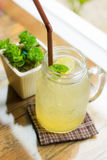 Healthy Drink. Fresh Ice Honey Lemon Drink in a jug at Rilak cafe in Chiang mai, Thailand Stock Image