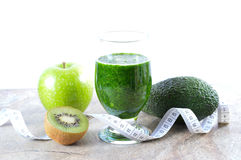Healthy drink. Green smoothie. Diet and detox. Royalty Free Stock Photo