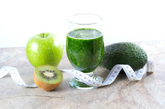 Healthy drink. Green smoothie. Diet and detox. Royalty Free Stock Photography