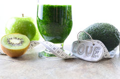 Healthy drink. Green smoothie. Diet and detox. Royalty Free Stock Images