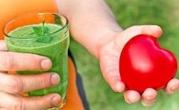 Healthy drink - green smoothie Stock Images