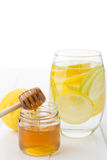 Healthy drink with honey, lemon and lime Royalty Free Stock Photography
