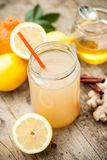 Healthy drink made of  lemon, cinammon, ginger and honey Stock Images