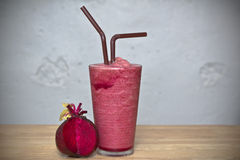 Healthy drink, Smoothie beetroot on wood Stock Photos