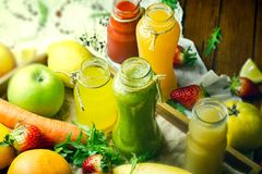 Healthy drinks, beverage - fresh juices and smoothie. For your healthy lifestyle Stock Image