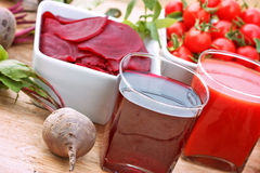 Healthy drinks (healthy juices). Beet and tomato juice Stock Photo