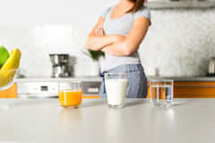 Healthy drinks. Juice, milk and water Royalty Free Stock Photos